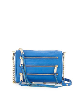 Rebecca Minkoff Five-Zip Mini Crossbody Bag, Bright Blue