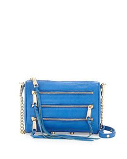 Rebecca Minkoff Five-Zip Mini Crossbody Bag, Bright Blue