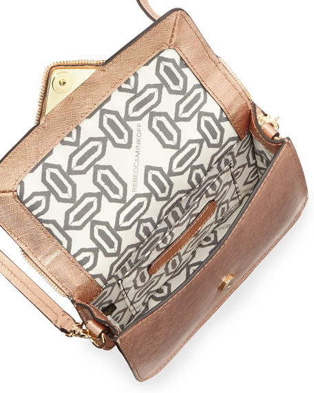 Sammy Zip Trim Envelope Crossbody Bag, Rose Gold