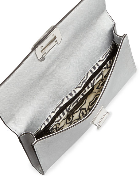 Coco Studded-Flap Clutch Bag, Silver