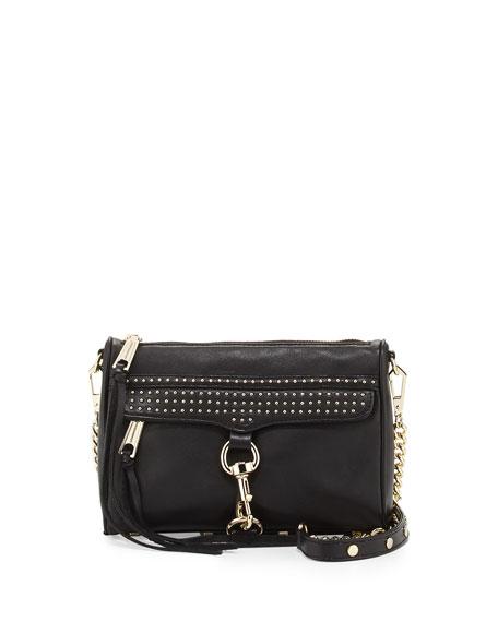 Mini MAC Micro-Studded Leather Crossbody Bag, Black