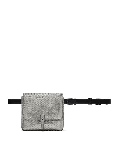 Elizabeth and James Cynnie Snake-Embossed Belt Bag, Anthracite