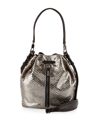 Elizabeth and James Cynnie Snake-Print Mini Bucket Bag, Anthracite