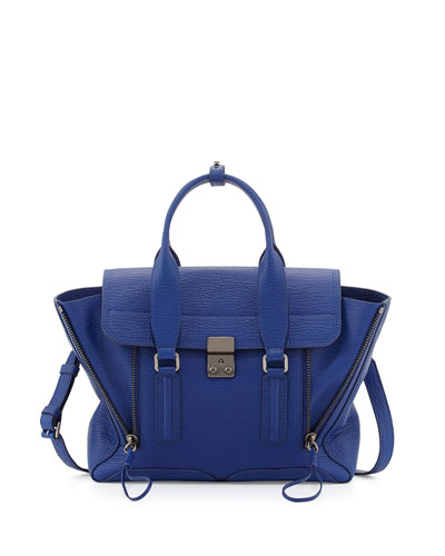 3.1 Phillip Lim Pashli Medium Leather Satchel Bag, Cobalt