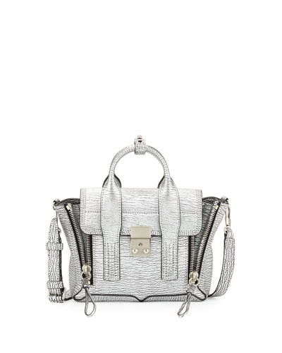3.1 Phillip Lim Pashli Mini Leather Satchel Bag, Silver