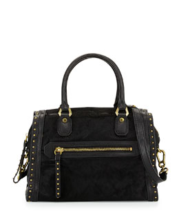 Oryany Brenda Studded Calf-Hair Duffle Bag, Black