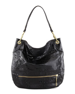 Lucy Crocodile-Embossed Hobo Bag, Black