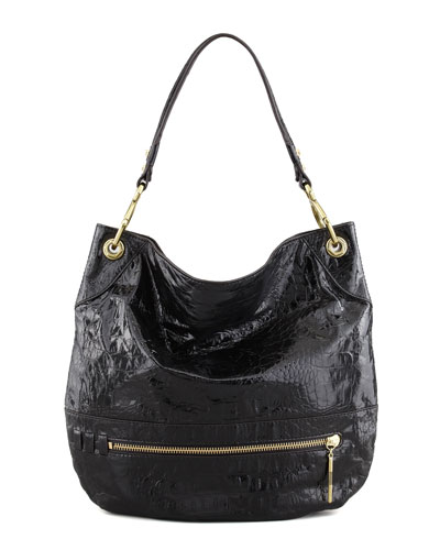 Oryany Lucy Crocodile-Embossed Hobo Bag, Black