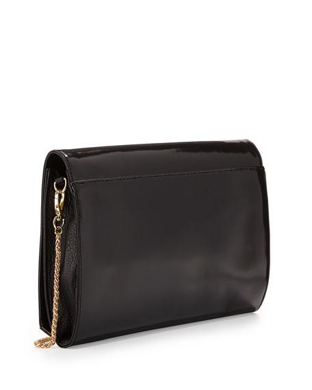 Flat Leather Flap Clutch Bag, Black