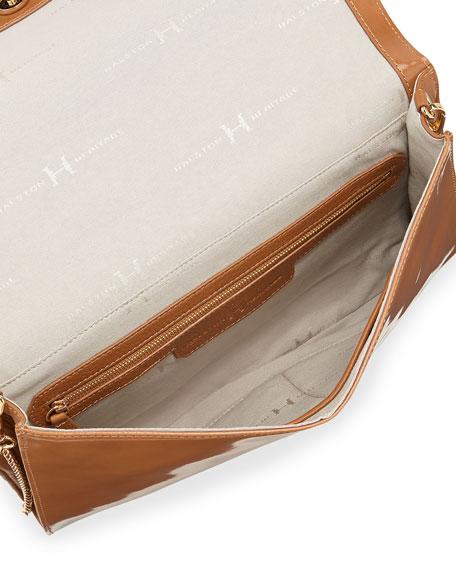 Flat Leather Flap Clutch Bag, Tan
