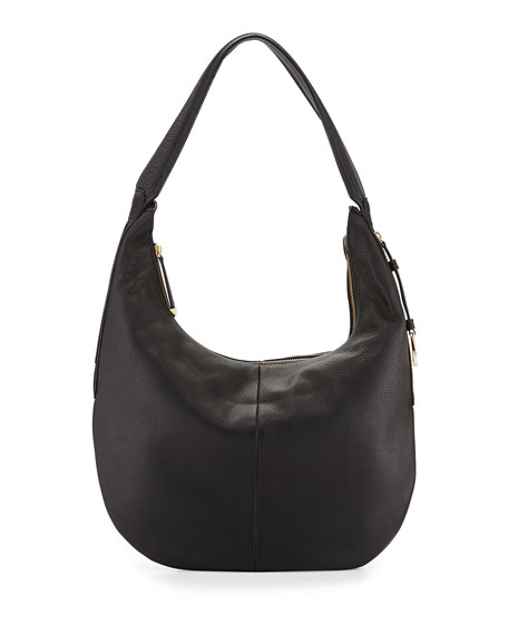 Halston Leather Slouch Hobo Bag, Black