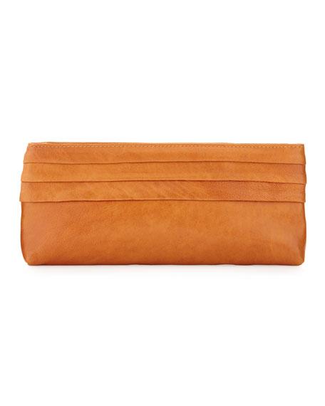 Lola Lambskin Pleated Clutch, Orange