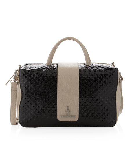 Betty Strap-Over Satchel Bag, Black/Taupe