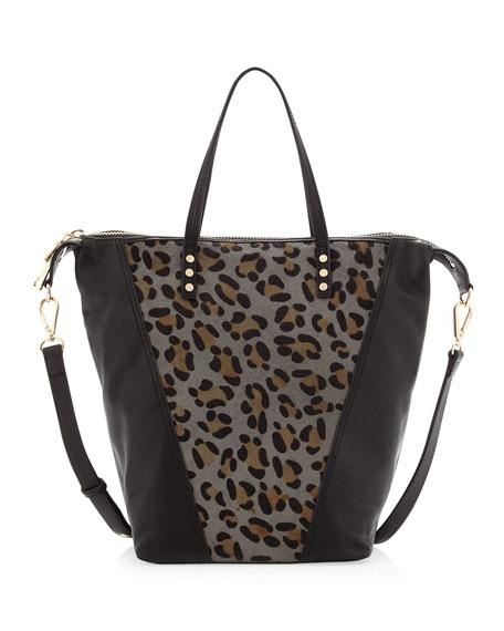 Abbey Leopard-Print Calf Hair Satchel Bag, Black