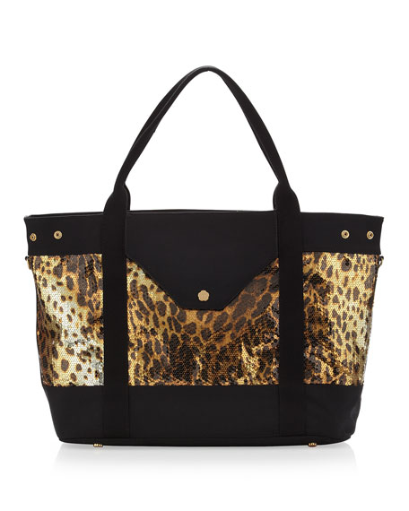 Wild Thing II Tote, Leopard/Black