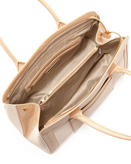 Jackie Colorblock Bag, Tan/Natural