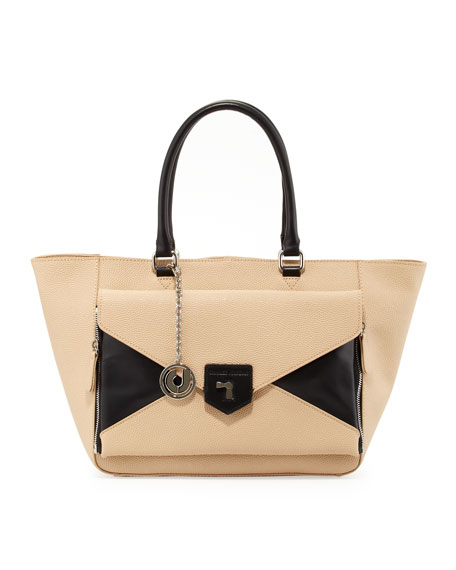 Jana Trapezoidal Convertible Bag, Black/Tan
