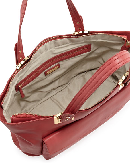 Abbey East-West Leather Tote Bag, Rouge