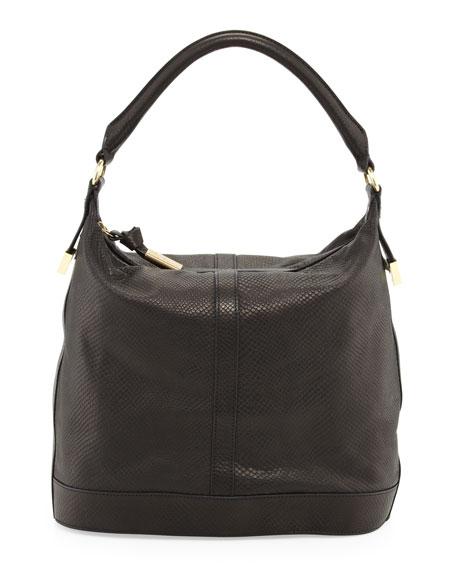 Embossed Leather Bucket Bag, Black