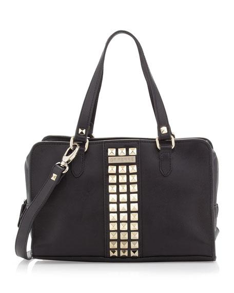 Studded Zip-Around Satchel Bag, Black