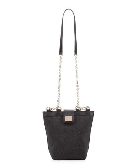 Woven Chain-Strap Shoulder Bag, Black