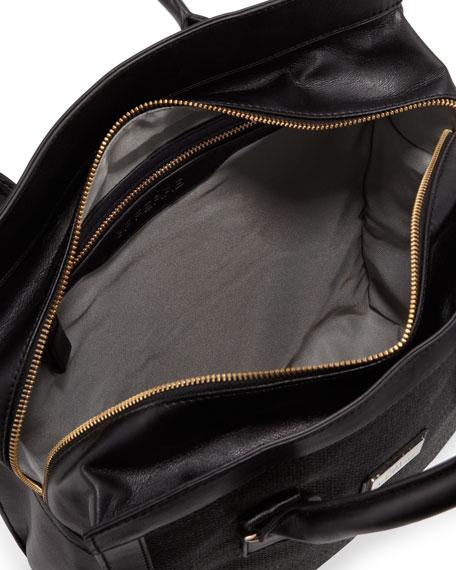 Woven-Center Shopper Tote Bag, Black