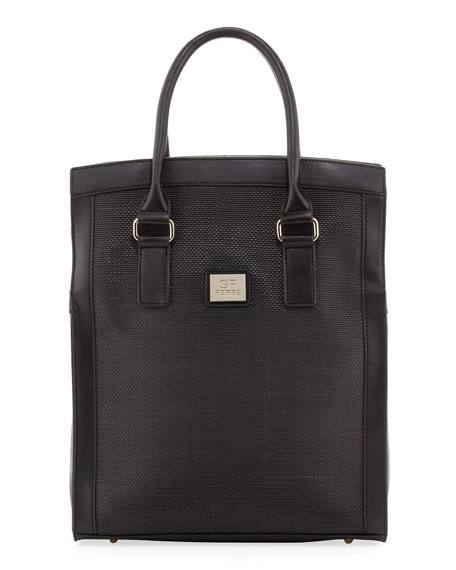 GF Ferre Woven-Center Shopper Tote Bag, Black