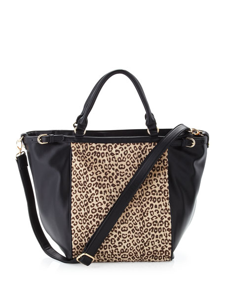 Cheetah-Print Faux-Calf-Hair Tote Bag, Black