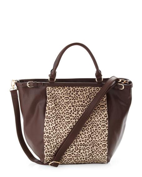 Cheetah-Print Faux-Calf-Hair Tote Bag, Brown
