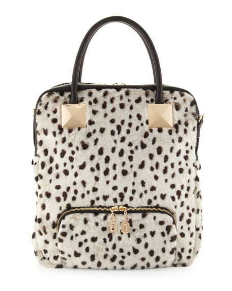 Snow Leopard Faux-Fur Tote Bag, White