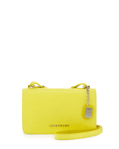 Longchamp Quadri Leather Crossbody Bag, Yellow