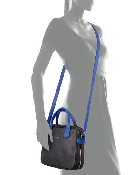Longchamp Longchamp 2.0 Leather Crossbody Bag, Black/Blue