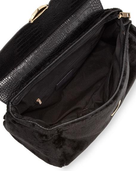 Rolled-Strap Faux-Fur Satchel Bag, Black