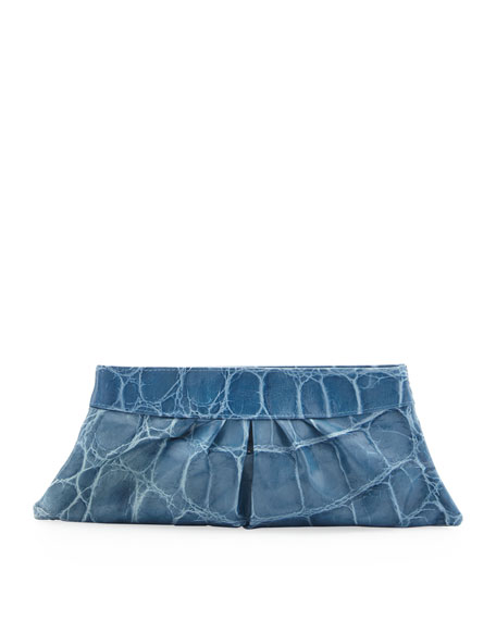 Louise Crocodile-Print Clutch Bag, Blue