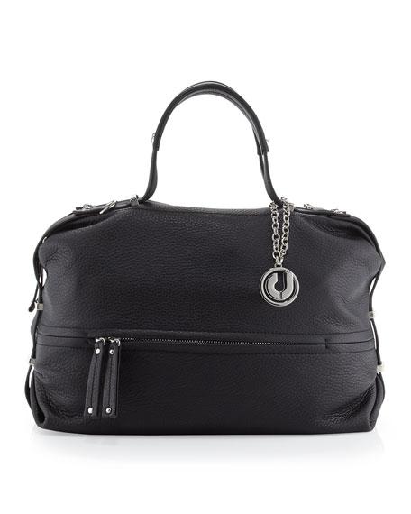 Janet Bottom-Half Zip Shoulder Bag, Black