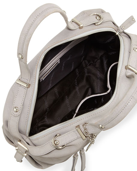 Janet Leather Zip Tote Bag, Gray