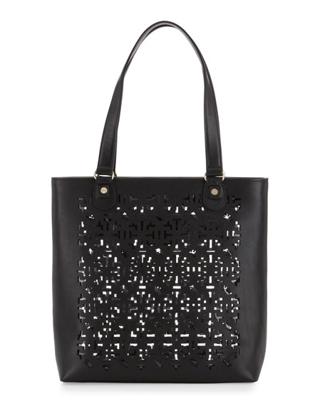 Alisoni Laser Cut Vachetta Leather Tote Bag, Black