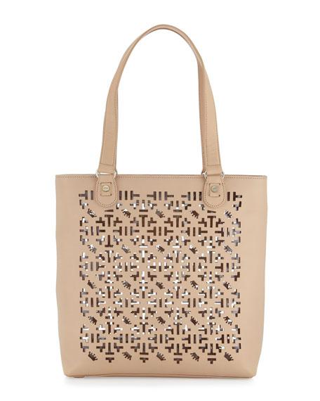 Alisoni Laser Cut Vachetta Leather Tote Bag, Natural