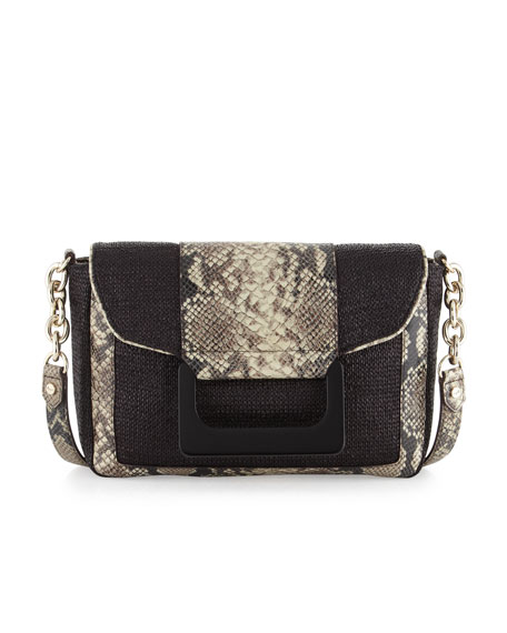 Olivia Python Embossed Leather Shoulder/Clutch Bag, Python