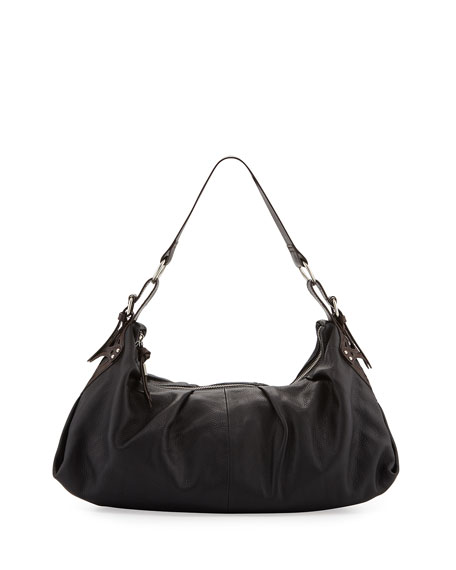 Equestrian Soft-Pleat Hobo Bag, Black/Brown