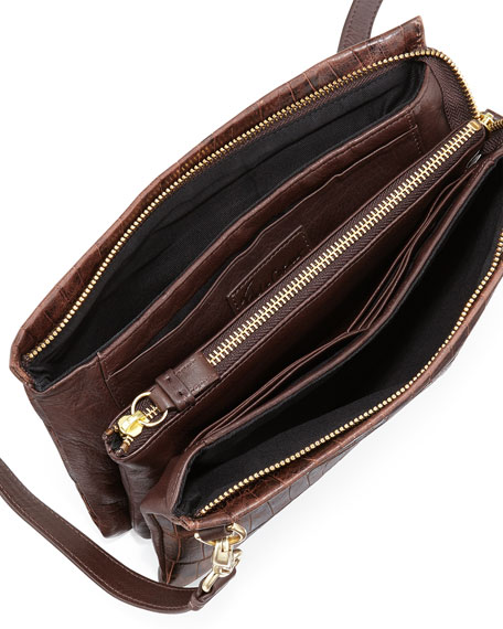 Cache Croc-Embossed Crossbody Bag, Brownie