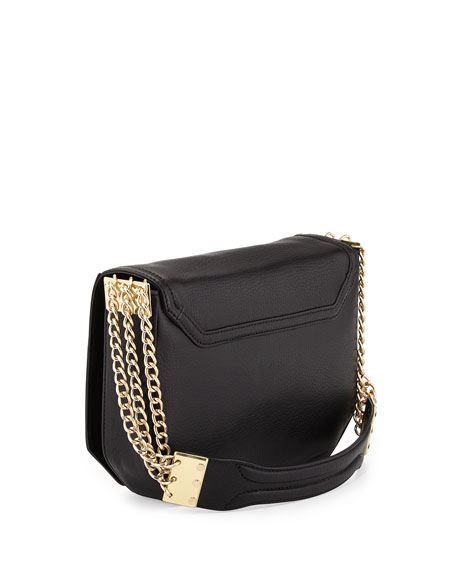 Triple-Chain-Strap Flap-Top Shoulder Bag, Black