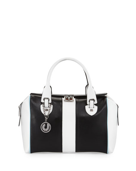 Kabrina Two-Tone Satchel Bag, Black/White