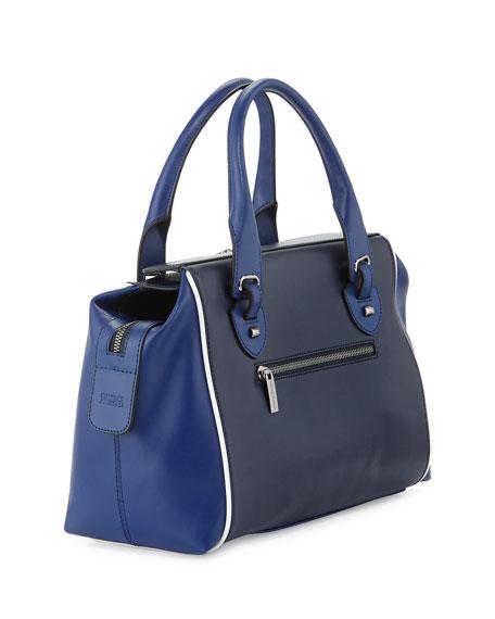 Kabrina Two-Tone Satchel Bag, Navy/Royal Blue