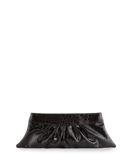 Louise Ruched Leather Clutch, Black