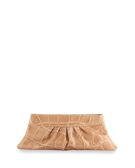 Louise Ruched Leather Clutch, Tan