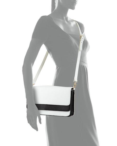 Zander Colorblock Accordion Leather Clutch, White/Black