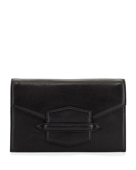 Lovey Structured Leather Clutch Bag, Black
