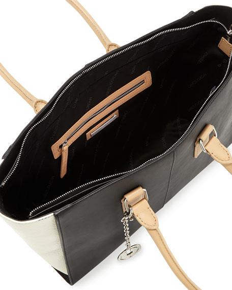 Kameron Two-Tone Leather Tote Bag, B&W
