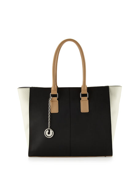Kameron Two-Tone Leather Tote Bag, B&W